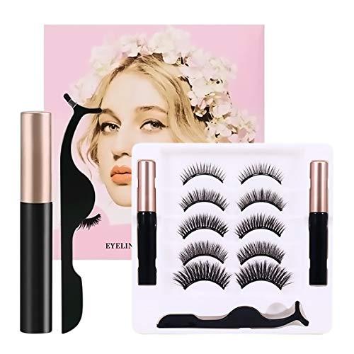 Magnetische Wimpern, 5 Paar Magnetic False Eyelashes mit 2 Magnetic Eyeliner, Natürliche Künstliche Falscher Eyelashes Set, Kein Kleber Erforderlich