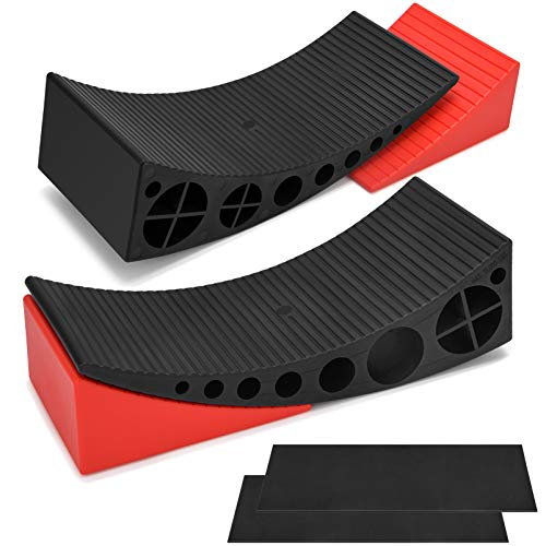 Kohree 2 Packs Camper Leveler, RV Leveling Ramp Blocks Chock Kit - Up to 35,000 lbs, Anti-Slip Mats Included, Faster and Easier to Level Your Camper Travel Trailer