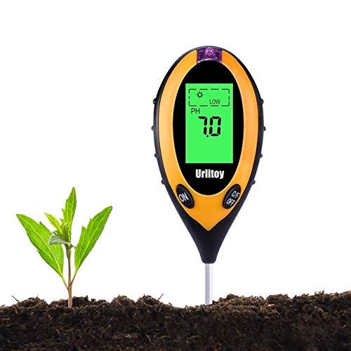Urlitoy Soil Test Kit, 4 in 1 Soil Moisture/Light/pH Tester Gardening Tool Tester Kits for Garden, Farm, Lawn Planter, Indoor Outdoor, Soil PH Meter