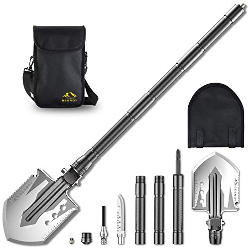 BESROY's Portable Military Folding Shovel with Tactical Waist Pack & Multi-Tools