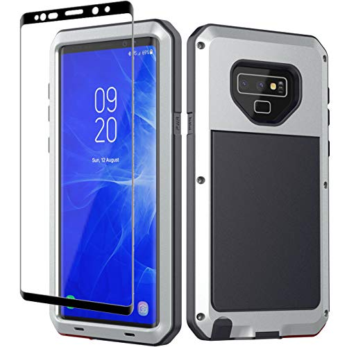 Galaxy Note 9 Case, Note 9 Heavy Duty Shockproof Hybrid Metal and Silicone High Impact Rugged Case and Tempered Glass Screen Protector [Full Screen Coverage] for Samsung Galaxy Note 9 (Silver)