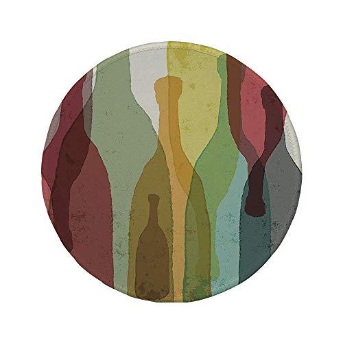 Rutschfreies Gummi-rundes Mauspad Wein abstrakte Zusammensetzung mit Aquarell-Silhouetten Flaschen Wein Whisky Tequila Vodka Dekorativ mehrfarbig 7,87 'x 7,87' x 3 mm