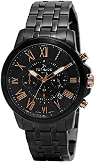 Tornado Men's Men's Watch Chronograph Display Black Dial Black Stainless Steel Bracelet - T6103-Bbbbk