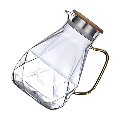 Hemoton Jarra de Agua de Vidrio con Patrón de Diamante Resistente Al...