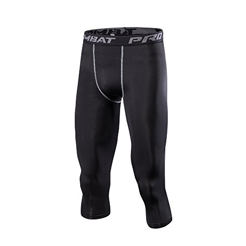 1Bests Heren Cool Dry Compressie Baselayer Capri Broek 3/4 Trainingsbroek