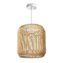 Paco Home Lampe suspendue LED E27 rotin boho corbeille salon salle à manger couloir, Abat-jour:Beige (Ø28 cm), Type de lampe:Suspension Blanc