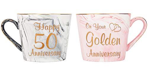 Happy Homewares Hermosas Tazas de cerámica de mármol Gris y Rosa del 50 Aniversario con Borde Dorado