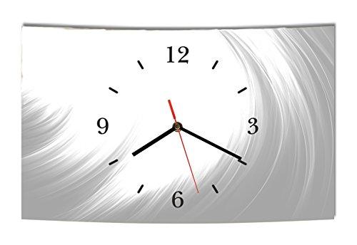 Homeyourself LAUTLOSE Designer Wanduhr Abstrakt grau weiß modern Dekoschild Abstrakt Bild 38 x 25cm