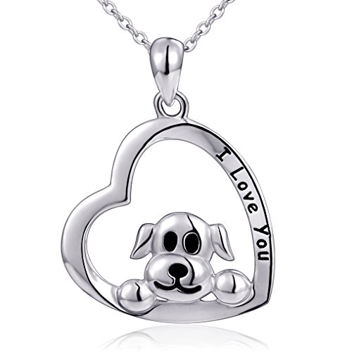 Mom Gifts 925 Sterling Silver I Love You Heart Dog Pendant Necklace for Women, 18'