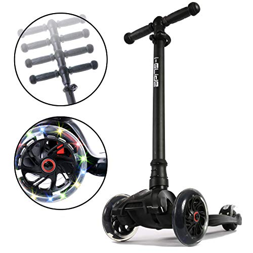 i-Glide Toddler Scooter - 3 Wheel Scooter for Kids - Kids Scooter with Warranty - Scooter for Girls & Boys - Adjustable Handlebar - Wide Deck - Lean 2 Steer - Flashing LED Wheels -