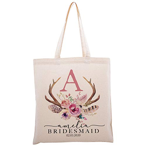 Personalized Printed Cotton Canvas Tote Bag | Custom Handbag Gift for Events | Wedding Bachelorette Baby Shower Birthday Party Christmas Bridesmaid | Vintage Antler With Initial | C1D03 | Single