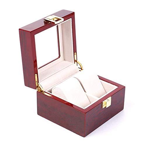 Suytan Aufbewahrungsboxen Für Uhren Doppelschichtige Aufbewahrungsbox Für Uhren Hölzerne Uhrenbox Bietet Platz Für 2 Uhren Zum Einfachen Tragen,Rot,Einheitsgröße