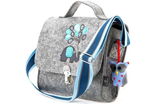 Kindergartentasche aus Filz von Stil-Macher | Elefant | Weicher Filz | reflektierender Schultergurt für mehr Sicherheit | Filztasche mit liebevollen handgenähte Stickereien - 24 x 8 x 21 cm (LxBxH)