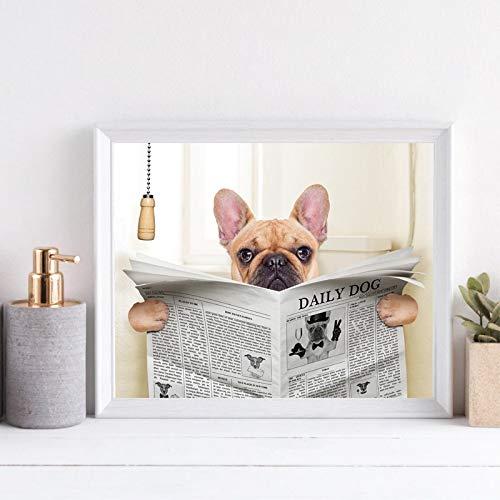 ganlanshu Französischer Bulldoggenhund, der auf der Toilette sitzt und das Leinwandkunstplakat der Zeitschrift liest,Rahmenlose Malerei,60X90cm