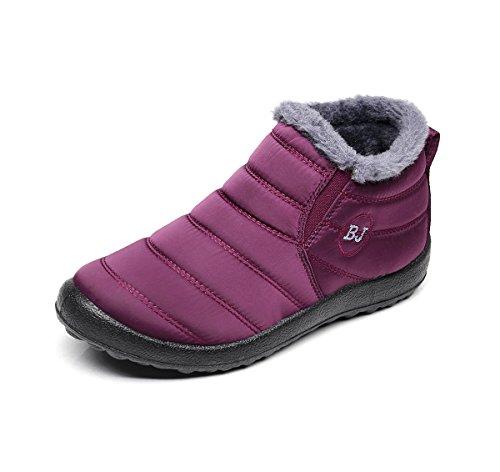 Unisex Schneestiefel,Popoti Winterschuhe Warm Erwachsene Herren Damen Winterstiefel Kurzschaft Boots Stiefel Outdoor Winter Stiefeletten (Rot Wine, 37)