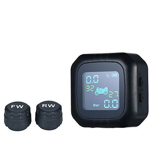Monitor de presión de neumáticos para motocicleta,moto,sistema de monitoreo manometro digital TPMS inalámbrico sistema de control de presión con 2 sensores externos