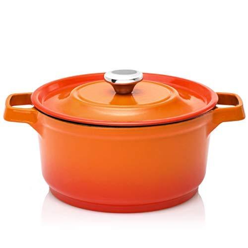 Cooker King Kölig KP5 - Horno holandés (hierro fundido esmaltado, con tapa, 24 cm, antiadherente, con asas de silicona) 24 cm naranja