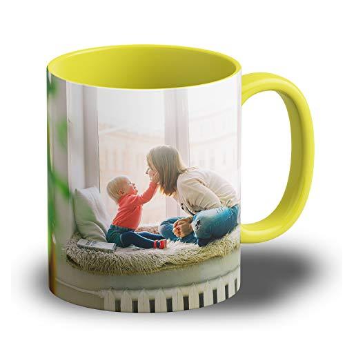 Isonio Fototasse mit eigenem Foto und Text Bedrucken Lassen - Randlos und Panoramadruck - Kaffee Tasse mit eigenem Foto (Gelb)