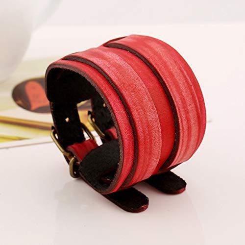 DBSUFV Pulseras de cuero genuino hechas a mano con remaches retro Pulseras y brazaletes anchos punk para mujeres Hombres Accesorio de joyería Jewelry Rojo)