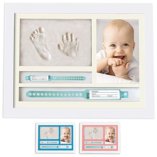 Set fotorahmen mit Abdruck van Händen und Füßen von Neugeborenon einschließlich Geburtsarmband. Originelle Geschenkidee zur Geburt oder Taufe. Tisch-oder Ward - Foto - Rahmen – Größe 33,5x22,5 cm