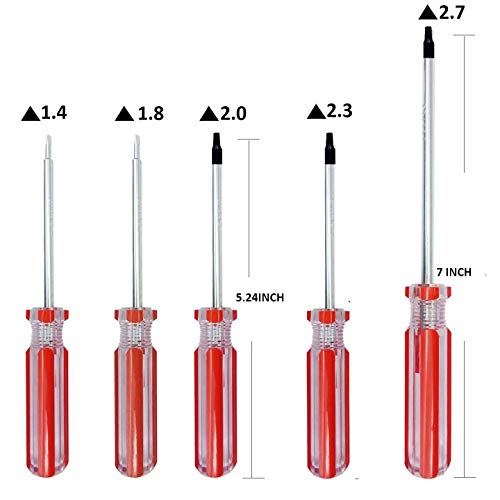 Screw Triangle Head Magnetic Screwdrivers Set 5 Sizes 1.4mm 1.8mm 2.0mm 2.3mm 2.7mm, SKZIRI Triangle Screws Driver Tool Kit for Fixing Electronic Toys (Tiangle Screwdriver Set)