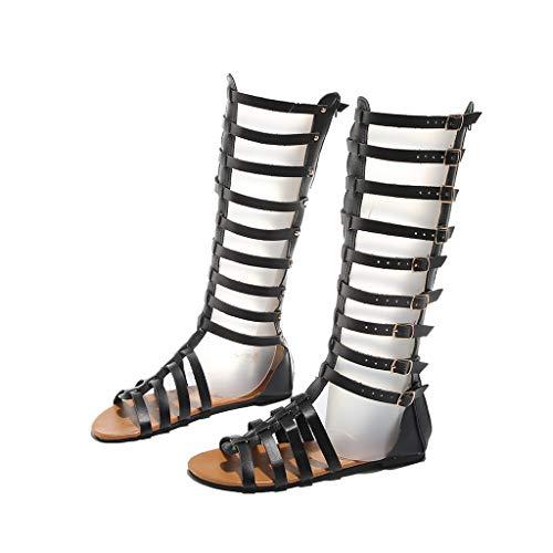 BIBOKAOKE Sommer Damen Casual Sandale Flat Heel Römersandale Freizeitsandalen Kniestiefel Schnalle Atmungsaktive Open Toe Sandalen Flats Sandalen Flip Flops Flatform Schuhe