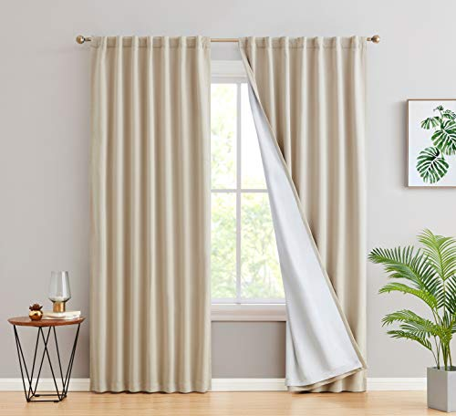 HLC.ME 100% Complete Blackout Lined Drapery with Heavy Double Layer Thermal Insulated Energy Smart Window Curtain Rod Pocket Back Tab Panels for Bedroom & Living Room, 2 Panels (52 W x 54 L, Beige)