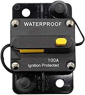 ANJOSHI 100Amp Waterproof Circuit Breaker 50A-300A Auto Car Protection Inline Fuse Stereo Switch Fuse Holders without Fuse Replacing 12V-36VDC