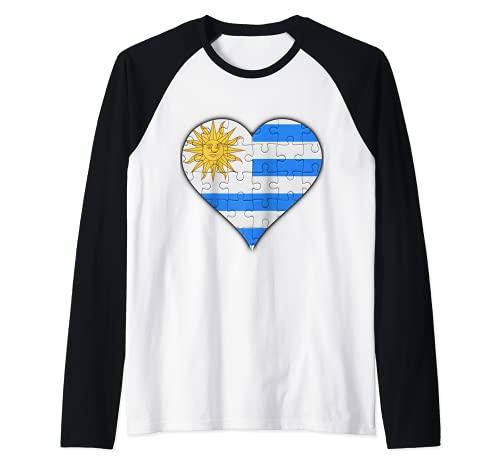 Corazón de la bandera uruguaya Camiseta Manga Raglan