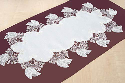 Plauener Spitze ovaler Tischläufer in Creme mit Spitzenabschluß 35 x 69 cm Tulpe