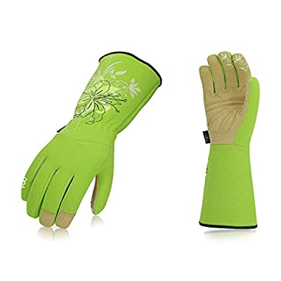 Vgo 1-Pair Ladies' Synthetic Leather Gardening Gloves, Long Sleeves Gauntlet, Breathable & Grip Work Gloves, High Dexterity, Washable (Size S, Green, SL7445)