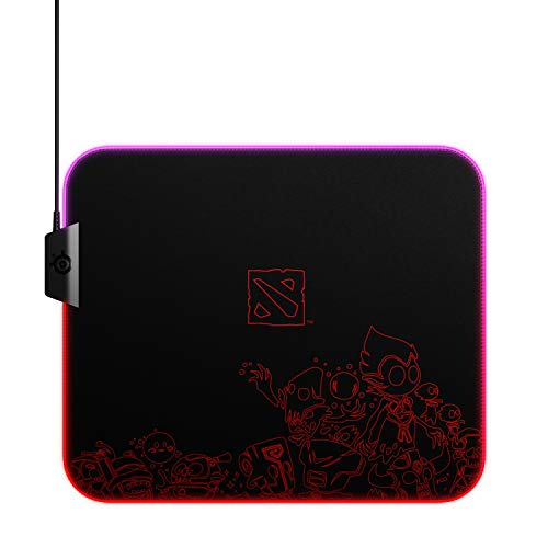 SteelSeries QcK Dota 2 Edition Gaming Surface - Medium RGB Prism Cloth Mouse Pad of All Time - Optimized for Gaming Sensors