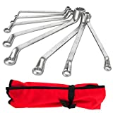 8 Piece Metric Offset Box End Wrench Set, 6mm-22mm,75 degree Long Double Ring Wrench Drop Forged Spanners with Tool Roll Pouch