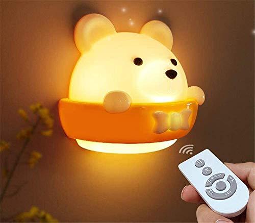 kinder Nachttischlampe LED Wand Nachtlicht Baby Nachtlampe mit Fernbedienung Tragbare ABS Nachtlichter für Babyzimmer, Schlafzimmer, Wohnzimmer, Camping, Picknick Warmweißes Licht, Energiesparlampen
