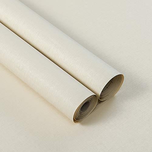 Lifetree Möbelfolie Klebefolie Selbstklebende Folie Dekorfolie Tapeten Wasserdicht Aufkleber für Möbel Küche Küchenschrank Umgestaltung 40x300cm Beige Weiß