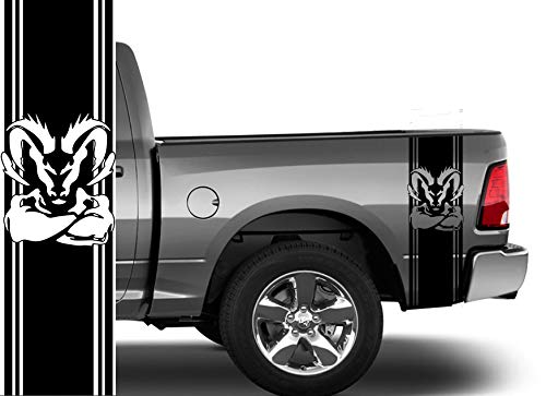 Coza Pick Up Rear Bed Vinyl Decals Compatible with Dodge Ram 1500 2500 Hemi Performance Graphics 5.7 Ram 1500 2500 3500 Fits Any Vehicle -2 Decals Total. Black Matte