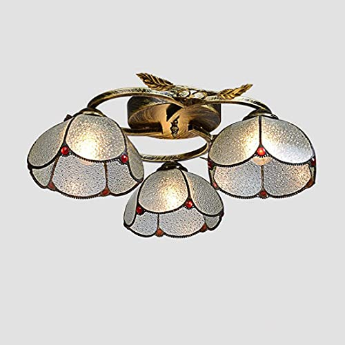 Phononey Vintage Mediterranean Glass Ceiling lamp, Vintage Round Shade Ceiling lamp for Bedroom Living Room, E27 (no Bulb), Clear, 3 Good Family (Color : Transparent)