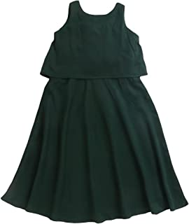 Hopscotch Girls Rayon/Viscose Faux Western Style Full Stitched Maxi Gowndress in Green Color