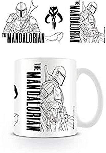 Star Wars The Mandalorian MG25721 - Taza de cerámica (315 ml), diseño con texto'Line Art)