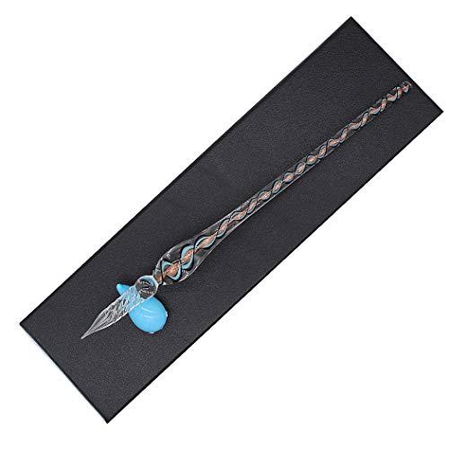 Sipliv hecho a mano de cristal de cristal espiral textura dip pen kit de pluma estilográfica vintage caligrafía firmas pluma con un portalápices para cumpleaños regalo de navidad, azul claro