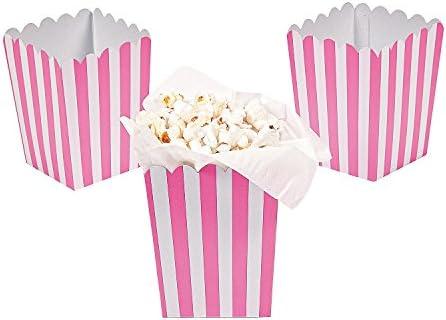 Paper Mini Candy Pink Striped Popcorn Boxes - 24 pcs