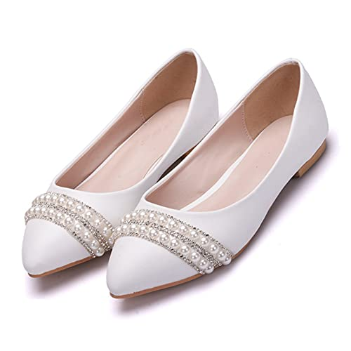 Zapatos Boda Mujeres,Pedrería De Perlas De Imitación Zapatos Novia Planos,Zapatos Dama Honor...