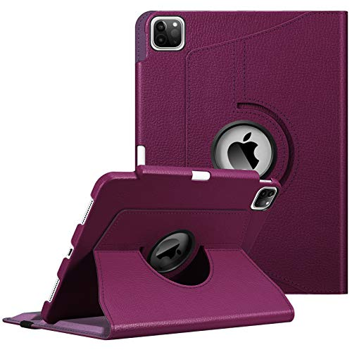 FINTIE Case with Built-in Pencil Holder for iPad Pro 11' 2020/2018 [Support 2nd Gen Pencil Charging Mode] - 360 Degree Rotating Stand Protective Cover with Auto Sleep/Wake, Purple
