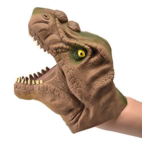DIYARTS Gants de Marionnettes à Main Dinosaure Jeu de Rôle Réaliste Tyrannosaurus Rex Head Toys Jouet Interactif Parent-Enfant (Marron)
