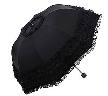 Honeystore Princess Lace Ultraviolet-Proof Folding Umbrella Anti-uv Dome Parasol Style1 Black
