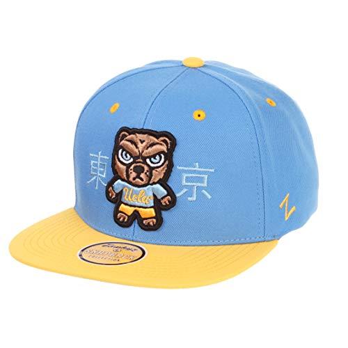 Zephyr Harajuku 6-Panel japanisches Logo Snapback Cap – NCAA Flat Bill, zweifarbig, verstellbare Shibuya Baseballmütze, Herren, blau, Einheitsgröße