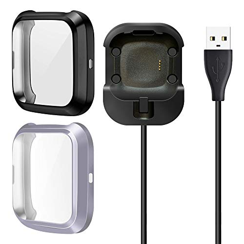 LUCXXI Screen Protectors Charger Compatible with Fitbit Versa 2/Versa 2 Special Edition(Not for Versa), (Charger with Case On) [2+1 Pack] Replacement Charging Cable Dock Soft TPU Case Cover Bumper