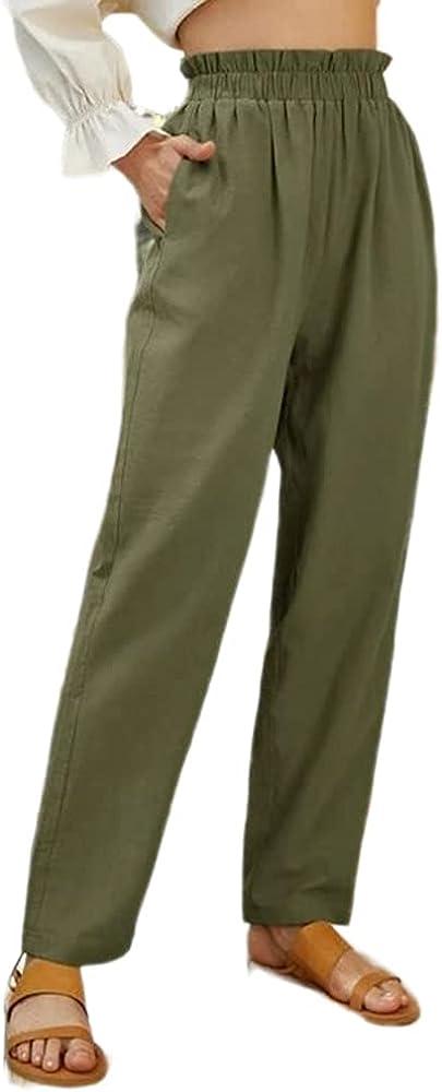 Womens Casual Loose Pants Comfy Work Pants with Pockets Elastic High Waist Paper Bag Pants