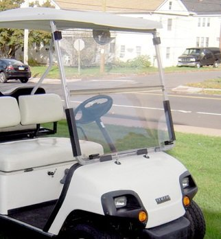 Yamaha G14 G16 G19 Clear Fold Down Impact Resistant Windshield for Yamaha G14-19 Golf Cart INSTALLS & UNINSTALLS in Minutes!
