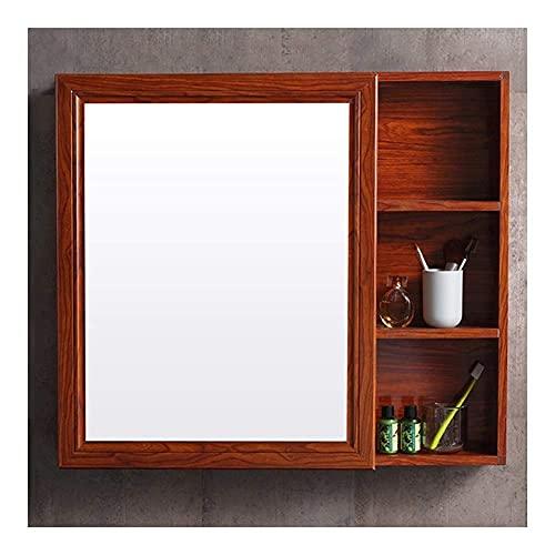 LLKK Armario de pared para medicina con espejo de una sola puerta, organizador multiusos de 3 niveles, 80 x 70 cm